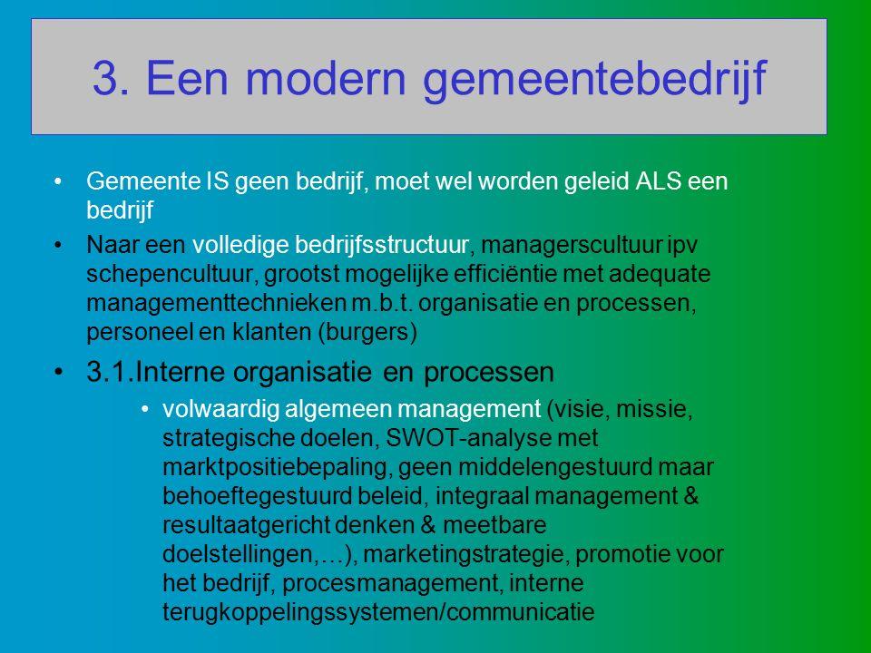 3. Een modern gemeentebedrijf Gemeente IS geen bedrijf, moet wel worden geleid ALS een bedrijf Naar een volledige bedrijfsstructuur, managerscultuur i