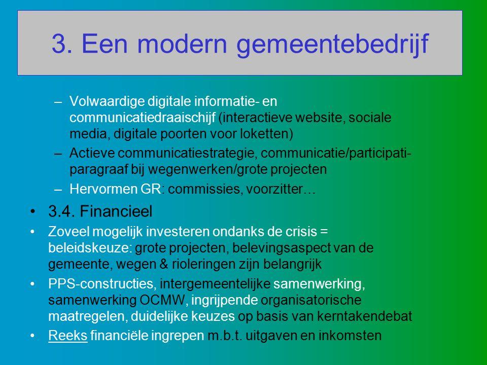 3. Een modern gemeentebedrijf –Volwaardige digitale informatie- en communicatiedraaischijf (interactieve website, sociale media, digitale poorten voor