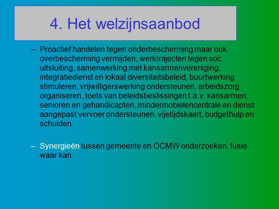 4. Het welzijnsaanbod –Proactief handelen tegen onderbescherming maar ook overbescherming vermijden, werktrajecten tegen soc. uitsluiting, samenwerkin