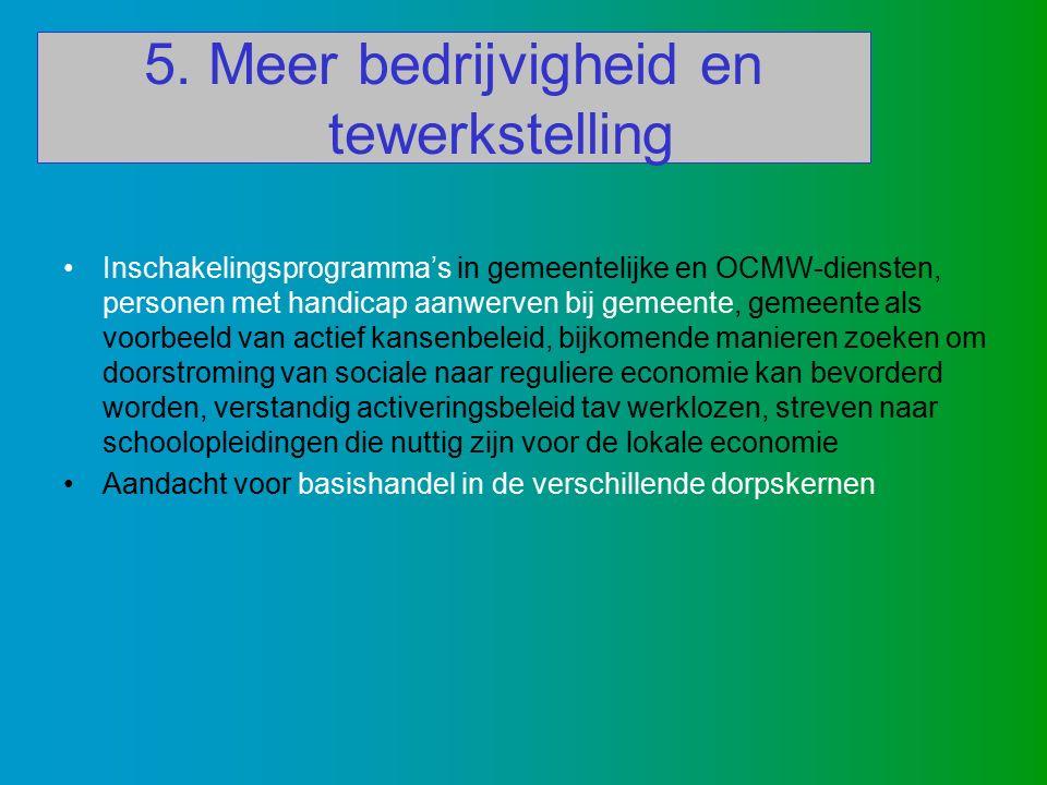 5. Meer bedrijvigheid en tewerkstelling Inschakelingsprogramma's in gemeentelijke en OCMW-diensten, personen met handicap aanwerven bij gemeente, geme