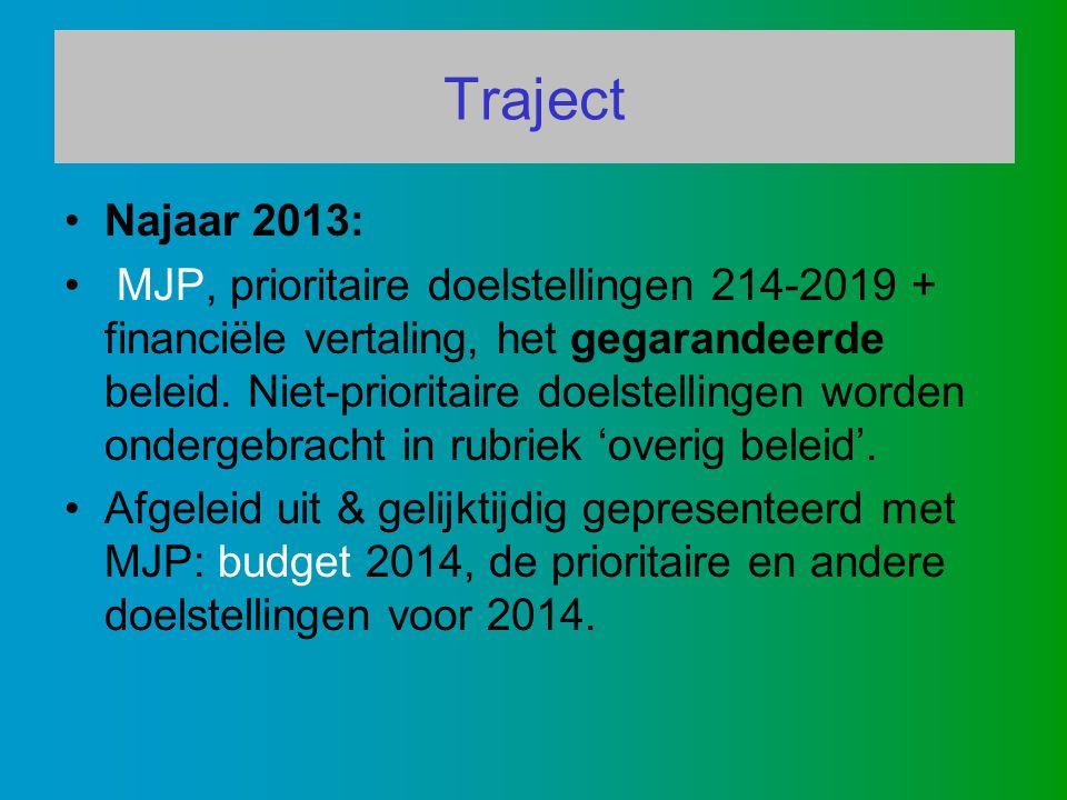 Traject Najaar 2013: MJP, prioritaire doelstellingen 214-2019 + financiële vertaling, het gegarandeerde beleid.