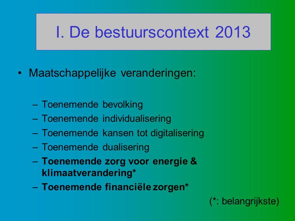 I. De bestuurscontext 2013 Maatschappelijke veranderingen: –Toenemende bevolking –Toenemende individualisering –Toenemende kansen tot digitalisering –