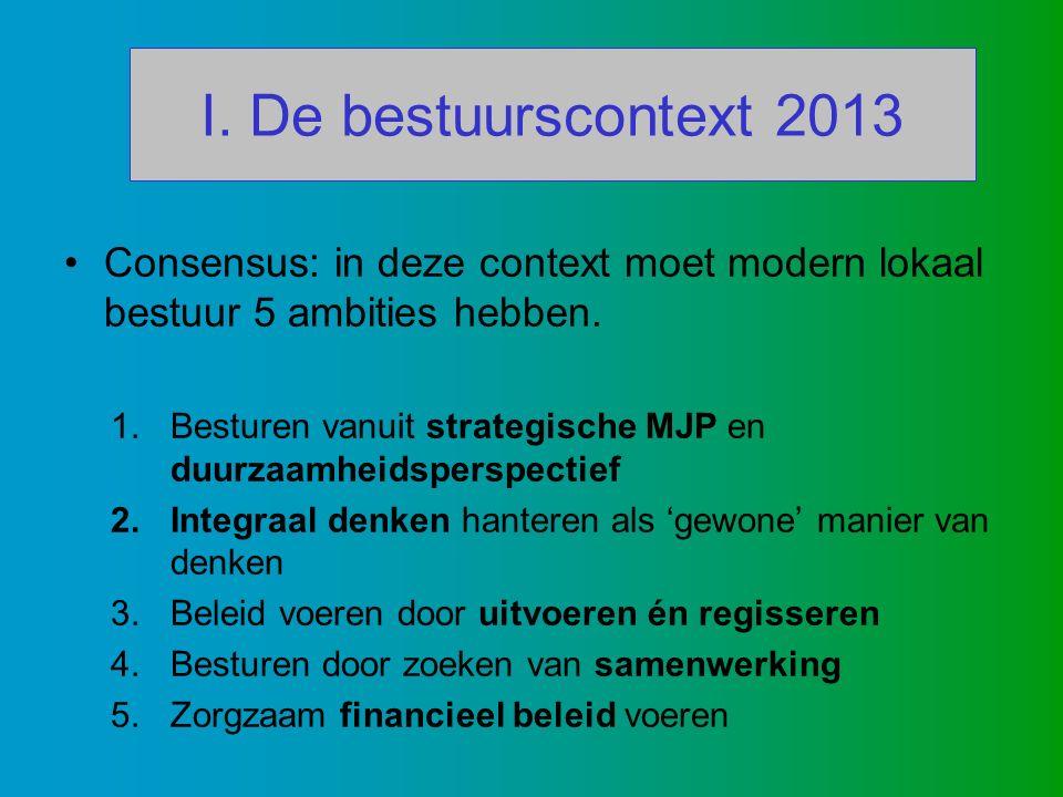 I. De bestuurscontext 2013 Consensus: in deze context moet modern lokaal bestuur 5 ambities hebben.