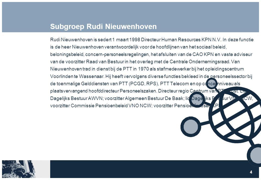 4 Subgroep Rudi Nieuwenhoven Rudi Nieuwenhoven is sedert 1 maart 1998 Directeur Human Resources KPN N.V.