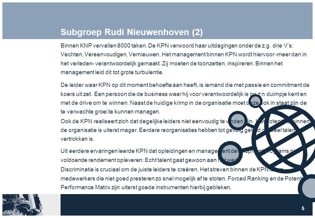 6 Subgroep Rudi Nieuwenhoven (3) Gezien de turbulente situatie waarin KPN zich op dit moment bevind is het adaptief vermogen van een leider een uiterst belangrijke competentie.