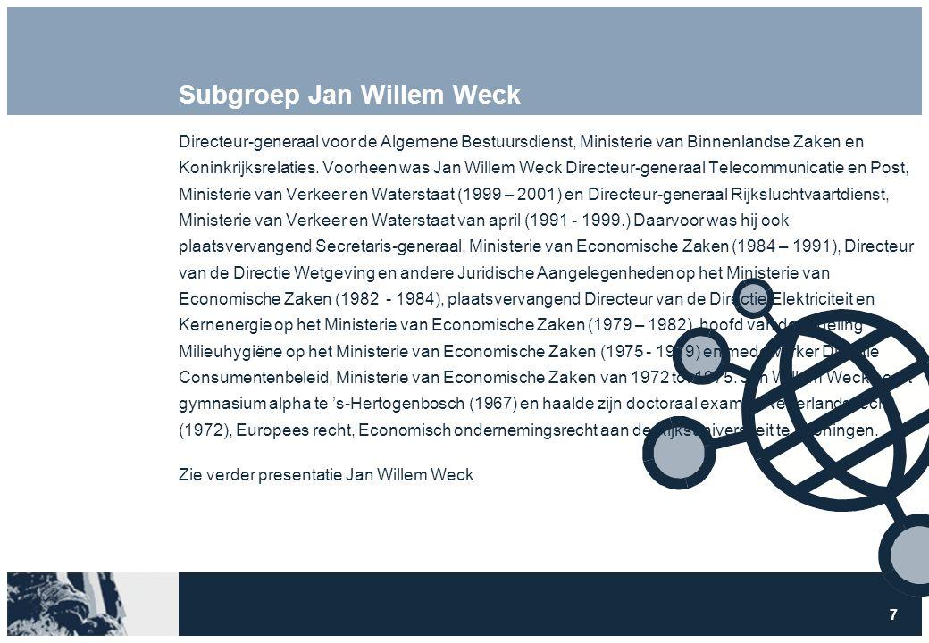 7 Subgroep Jan Willem Weck Directeur-generaal voor de Algemene Bestuursdienst, Ministerie van Binnenlandse Zaken en Koninkrijksrelaties.