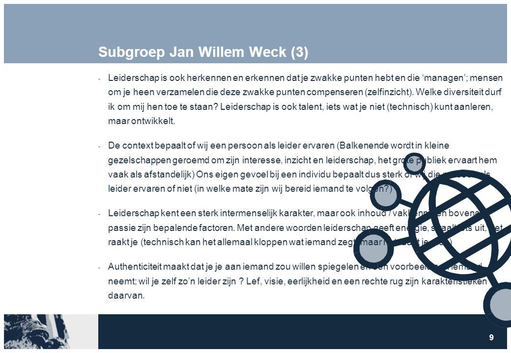9 Subgroep Jan Willem Weck (3)  Leiderschap is ook herkennen en erkennen dat je zwakke punten hebt en die 'managen'; mensen om je heen verzamelen die deze zwakke punten compenseren (zelfinzicht).