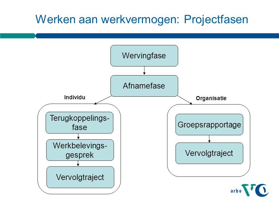 OrganisatieIndividu Werken aan werkvermogen: Projectfasen Wervingfase Terugkoppelings- fase Groepsrapportage Afnamefase Vervolgtraject Werkbelevings- gesprek