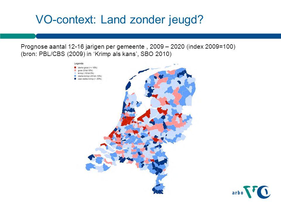 VO-context: Land zonder jeugd? Prognose aantal 12-16 jarigen per gemeente, 2009 – 2020 (index 2009=100) (bron: PBL/CBS (2009) in 'Krimp als kans', SBO