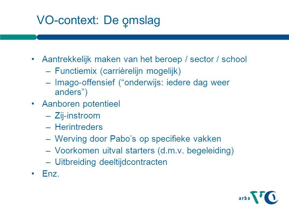 """VO-context: De omslag Aantrekkelijk maken van het beroep / sector / school –Functiemix (carrièrelijn mogelijk) –Imago-offensief (""""onderwijs: iedere da"""