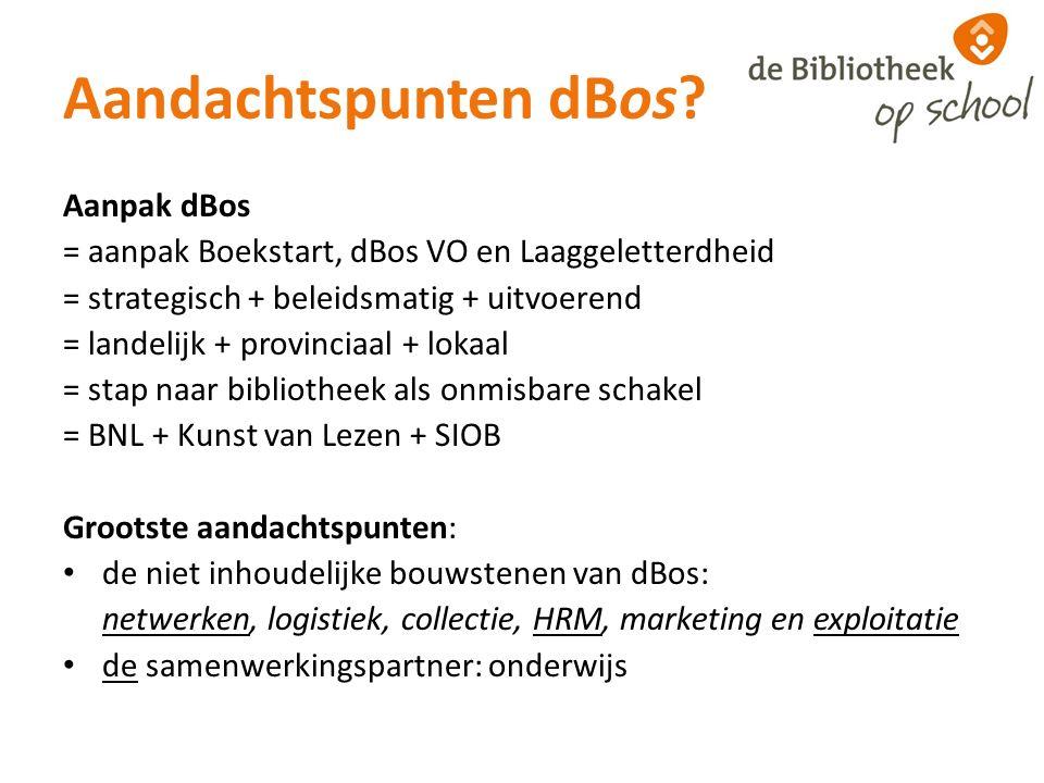 Aandachtspunten dBos? Aanpak dBos = aanpak Boekstart, dBos VO en Laaggeletterdheid = strategisch + beleidsmatig + uitvoerend = landelijk + provinciaal