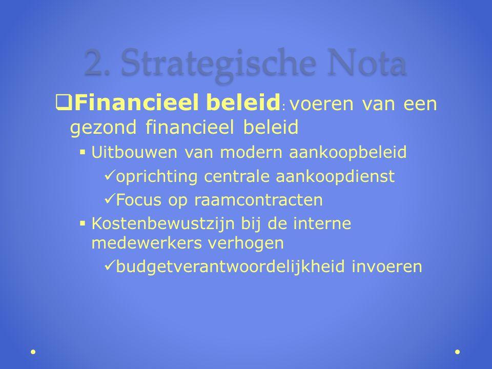2. Strategische Nota  Financieel beleid : voeren van een gezond financieel beleid  Uitbouwen van modern aankoopbeleid oprichting centrale aankoopdie