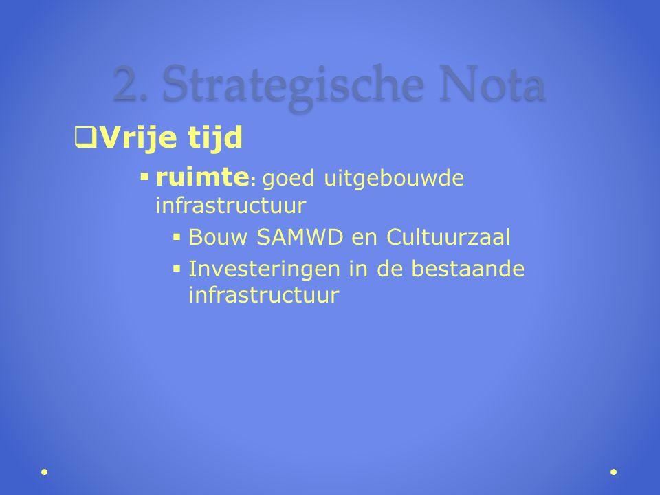 2. Strategische Nota  Vrije tijd  ruimte : goed uitgebouwde infrastructuur  Bouw SAMWD en Cultuurzaal  Investeringen in de bestaande infrastructuu