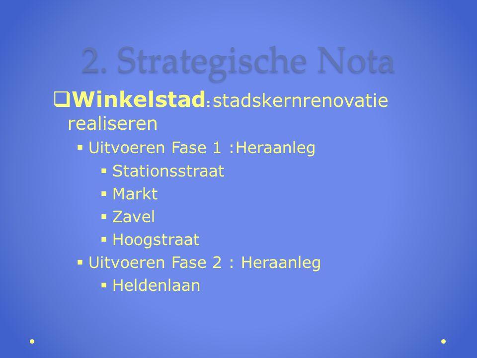2. Strategische Nota  Winkelstad : stadskernrenovatie realiseren  Uitvoeren Fase 1 :Heraanleg  Stationsstraat  Markt  Zavel  Hoogstraat  Uitvoe