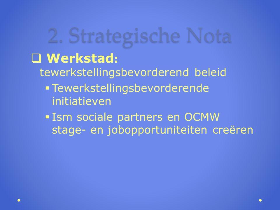 2. Strategische Nota  Werkstad : tewerkstellingsbevorderend beleid  Tewerkstellingsbevorderende initiatieven  Ism sociale partners en OCMW stage- e