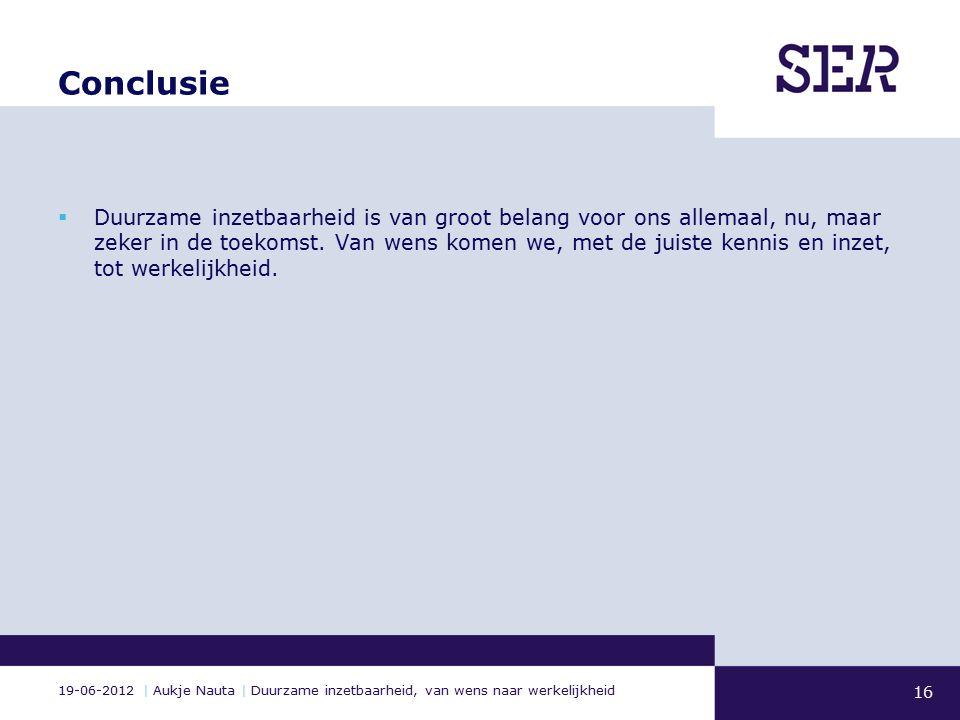 19-06-2012 | Aukje Nauta | Duurzame inzetbaarheid, van wens naar werkelijkheid Conclusie  Duurzame inzetbaarheid is van groot belang voor ons allemaal, nu, maar zeker in de toekomst.