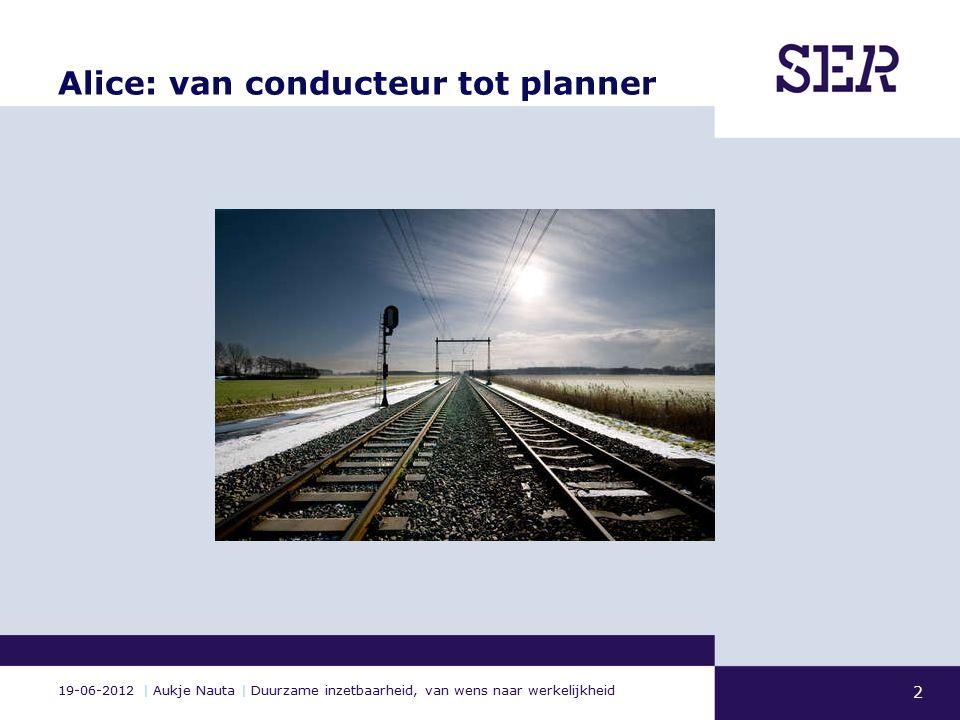 19-06-2012 | Aukje Nauta | Duurzame inzetbaarheid, van wens naar werkelijkheid Alice: van conducteur tot planner 2
