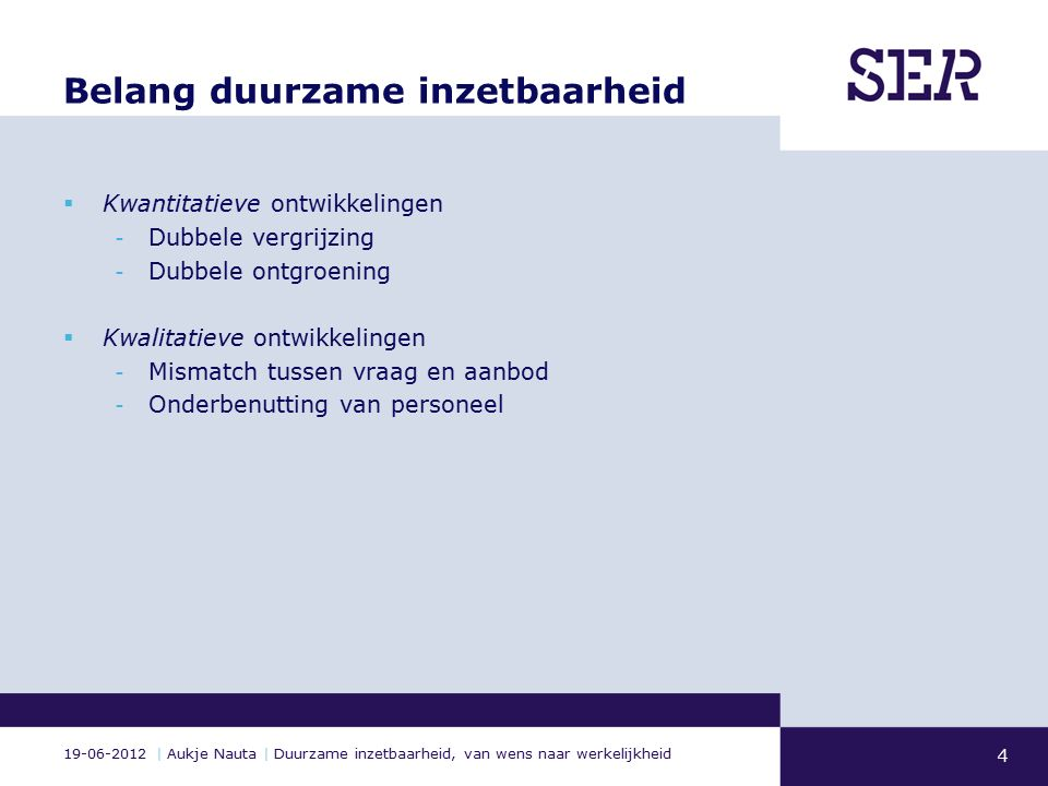 19-06-2012 | Aukje Nauta | Duurzame inzetbaarheid, van wens naar werkelijkheid Belang duurzame inzetbaarheid  Kwantitatieve ontwikkelingen - Dubbele