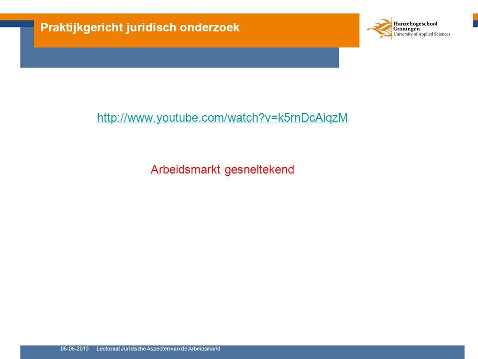 Praktijkgericht juridisch onderzoek http://www.youtube.com/watch v=k5rnDcAiqzM Arbeidsmarkt gesneltekend 06-06-2013Lectoraat Juridische Aspecten van de Arbeidsmarkt