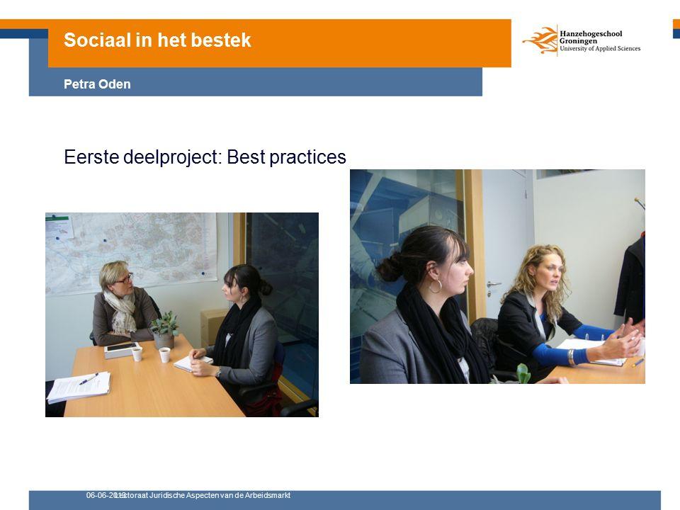 06-06-2013Lectoraat Juridische Aspecten van de Arbeidsmarkt Eerste deelproject: Best practices Sociaal in het bestek Petra Oden