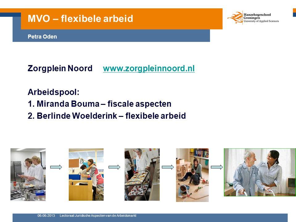 06-06-2013Lectoraat Juridische Aspecten van de Arbeidsmarkt Zorgplein Noord www.zorgpleinnoord.nlwww.zorgpleinnoord.nl Arbeidspool: 1. Miranda Bouma –