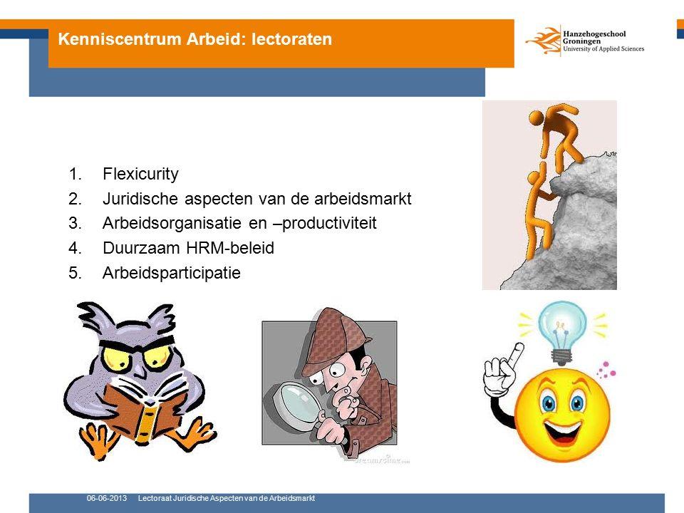 Kenniscentrum Arbeid: lectoraten 1.Arbeidsorganisatie en –productiviteit Dr.