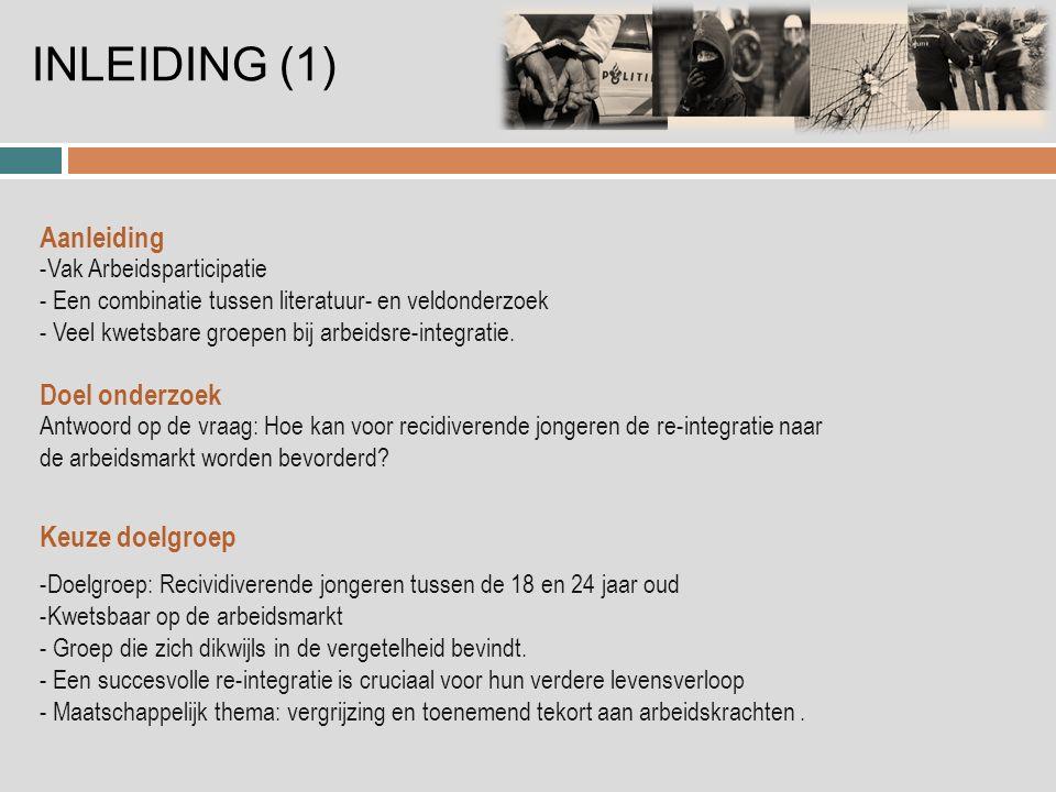 INLEIDING (1) -Vak Arbeidsparticipatie - Een combinatie tussen literatuur- en veldonderzoek - Veel kwetsbare groepen bij arbeidsre-integratie.