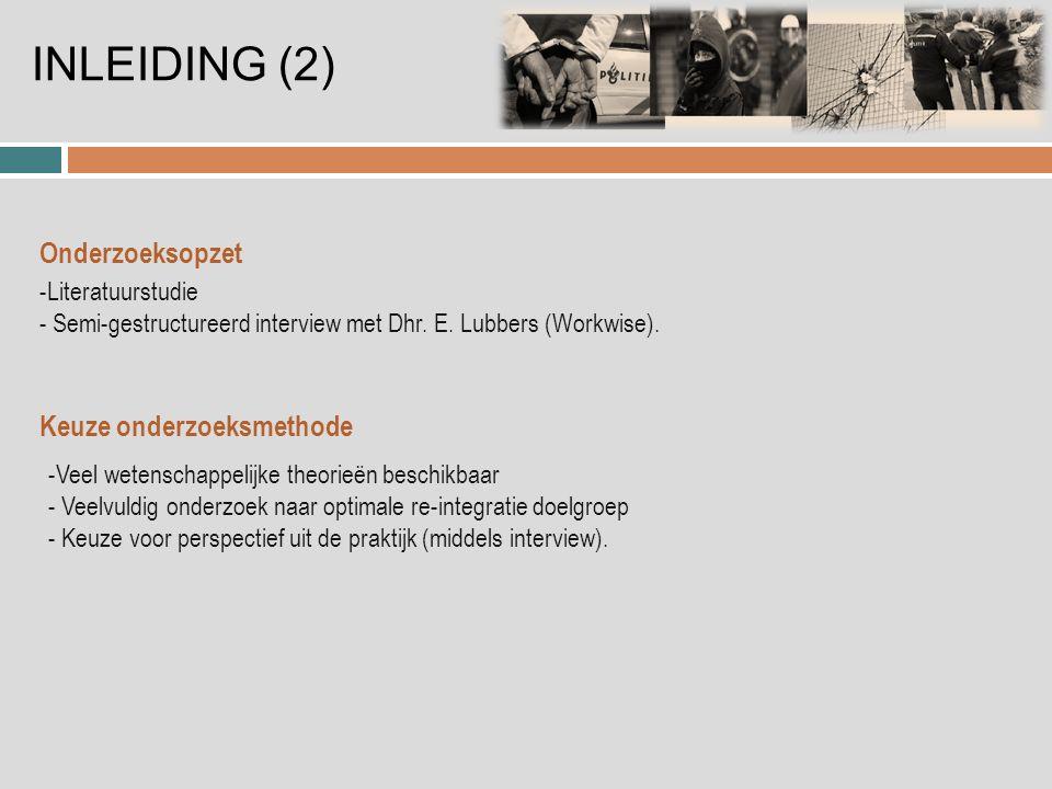 INLEIDING (2) Onderzoeksopzet -Literatuurstudie - Semi-gestructureerd interview met Dhr.