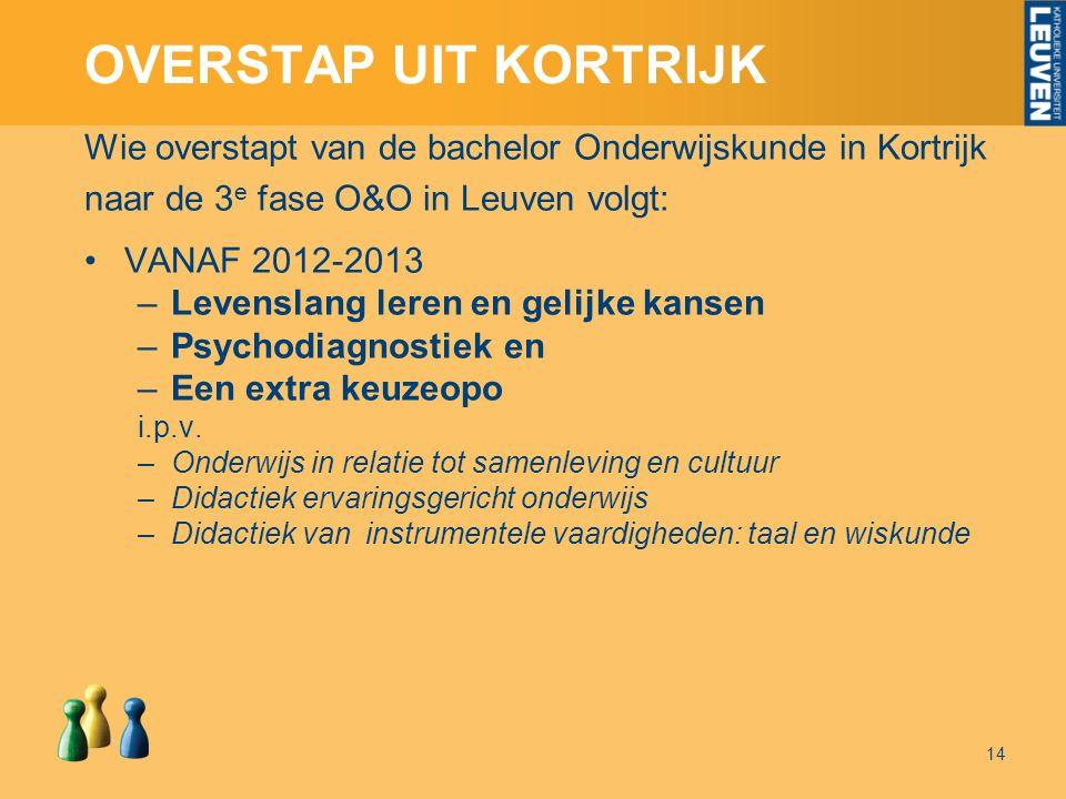 OVERSTAP UIT KORTRIJK Wie overstapt van de bachelor Onderwijskunde in Kortrijk naar de 3 e fase O&O in Leuven volgt: VANAF 2012-2013 –Levenslang leren en gelijke kansen –Psychodiagnostiek en –Een extra keuzeopo i.p.v.