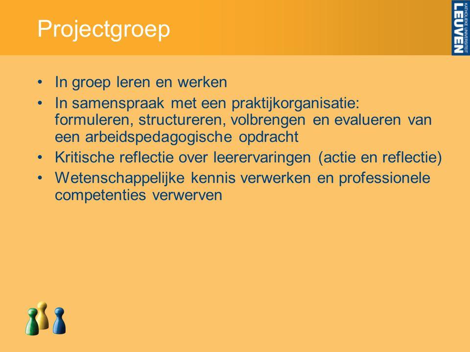 Projectgroep In groep leren en werken In samenspraak met een praktijkorganisatie: formuleren, structureren, volbrengen en evalueren van een arbeidsped