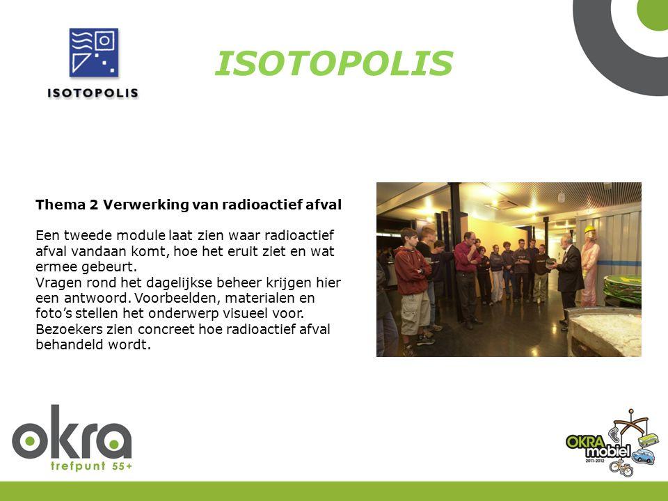 ISOTOPOLIS Thema 2 Verwerking van radioactief afval Een tweede module laat zien waar radioactief afval vandaan komt, hoe het eruit ziet en wat ermee g