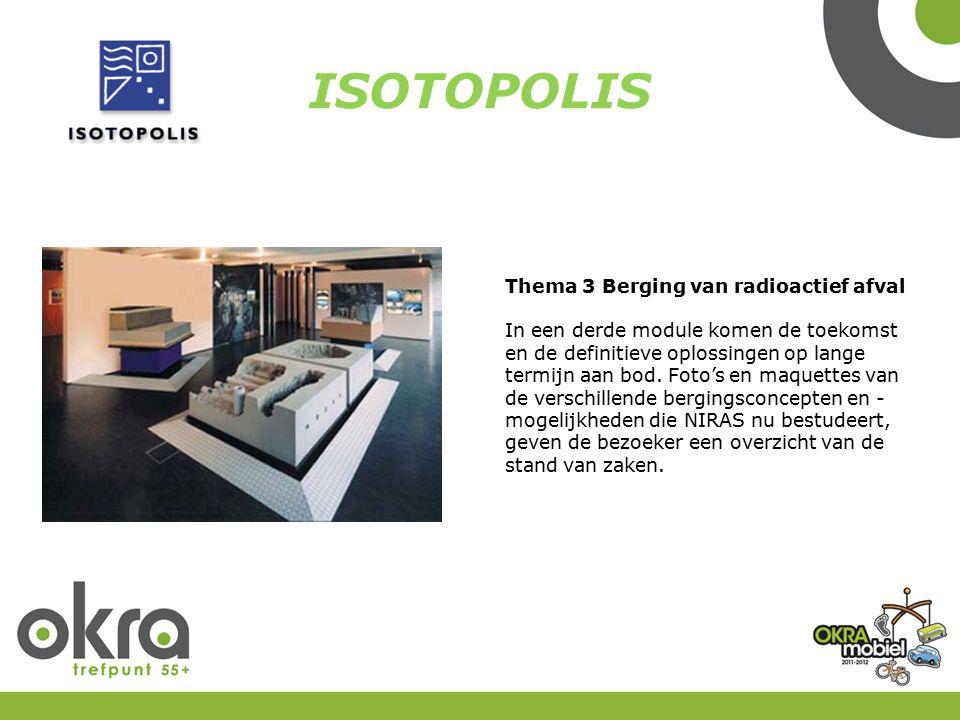 ISOTOPOLIS Thema 3 Berging van radioactief afval In een derde module komen de toekomst en de definitieve oplossingen op lange termijn aan bod.