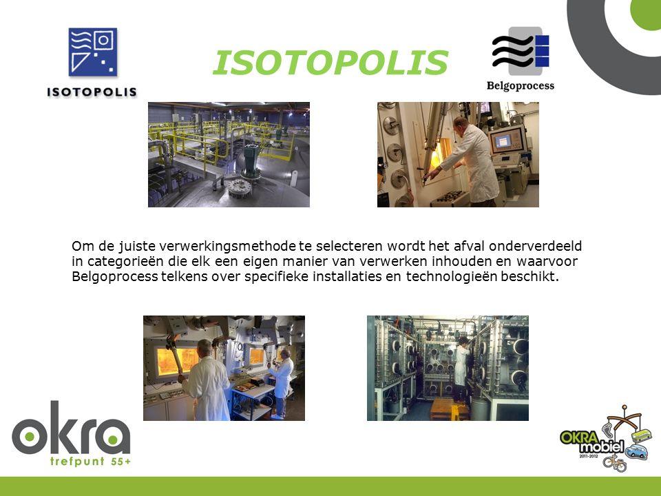 ISOTOPOLIS Om de juiste verwerkingsmethode te selecteren wordt het afval onderverdeeld in categorieën die elk een eigen manier van verwerken inhouden