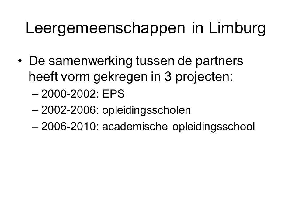 Leergemeenschappen in Limburg De samenwerking tussen de partners heeft vorm gekregen in 3 projecten: –2000-2002: EPS –2002-2006: opleidingsscholen –2006-2010: academische opleidingsschool
