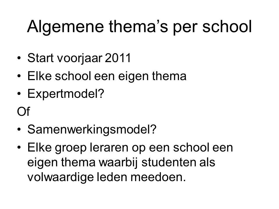 Algemene thema's per school Start voorjaar 2011 Elke school een eigen thema Expertmodel.