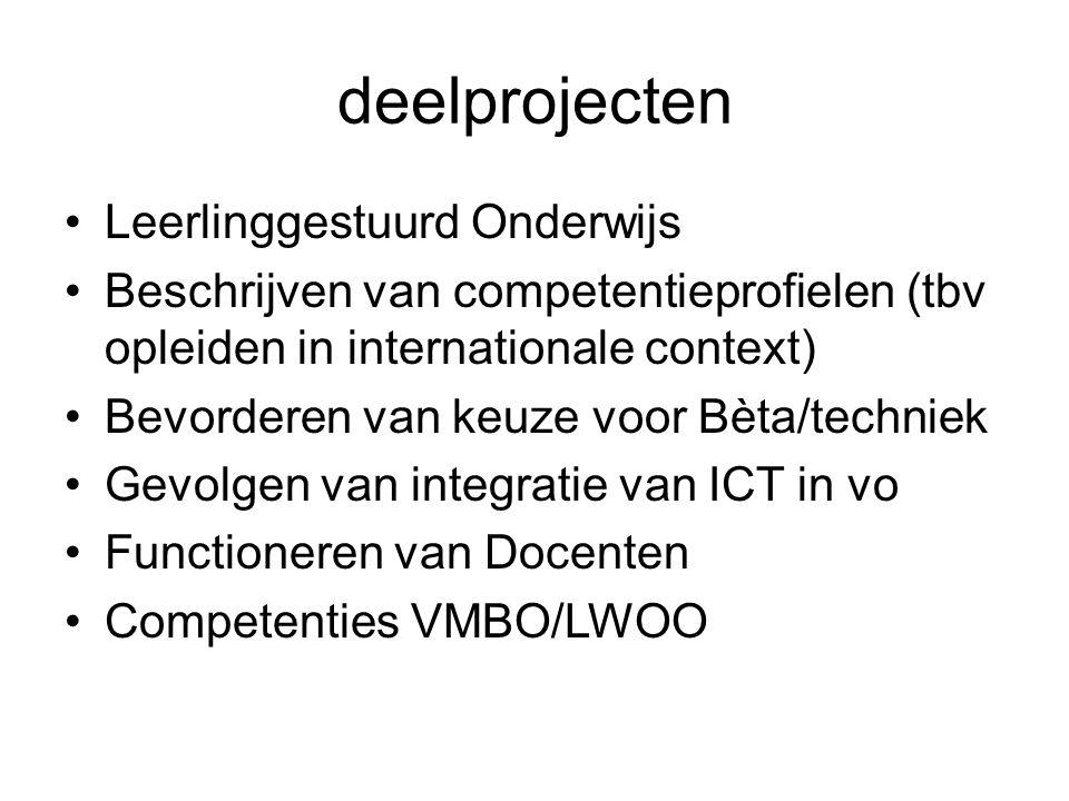 deelprojecten Leerlinggestuurd Onderwijs Beschrijven van competentieprofielen (tbv opleiden in internationale context) Bevorderen van keuze voor Bèta/techniek Gevolgen van integratie van ICT in vo Functioneren van Docenten Competenties VMBO/LWOO