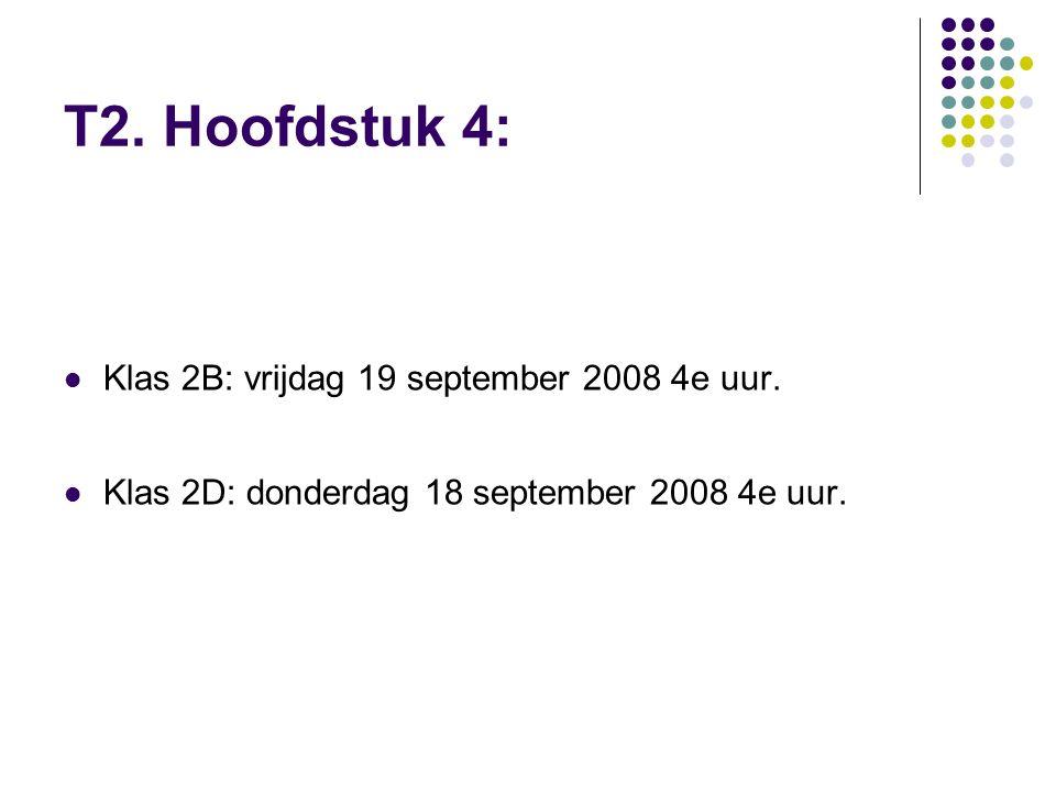 T2. Hoofdstuk 4: Klas 2B: vrijdag 19 september 2008 4e uur.