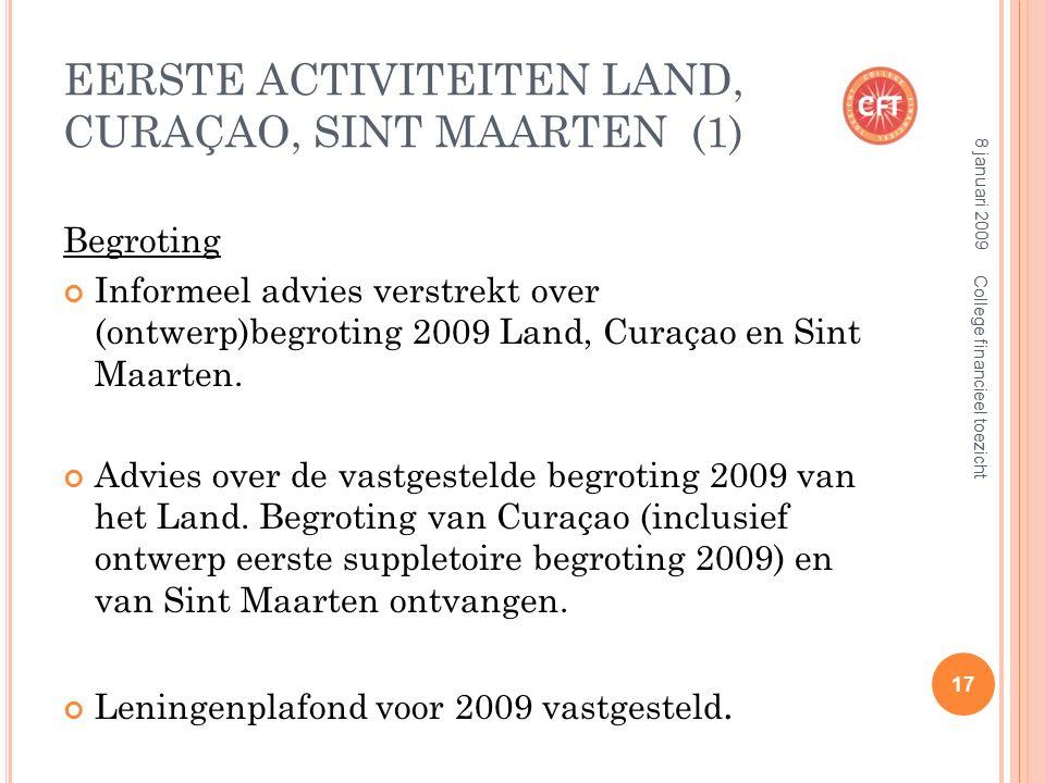 EERSTE ACTIVITEITEN LAND, CURAÇAO, SINT MAARTEN (1) Begroting Informeel advies verstrekt over (ontwerp)begroting 2009 Land, Curaçao en Sint Maarten.