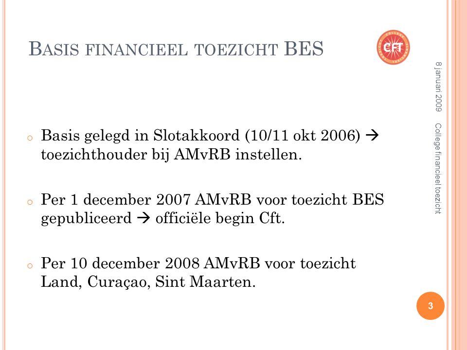 B ASIS FINANCIEEL TOEZICHT BES o Basis gelegd in Slotakkoord (10/11 okt 2006)  toezichthouder bij AMvRB instellen.