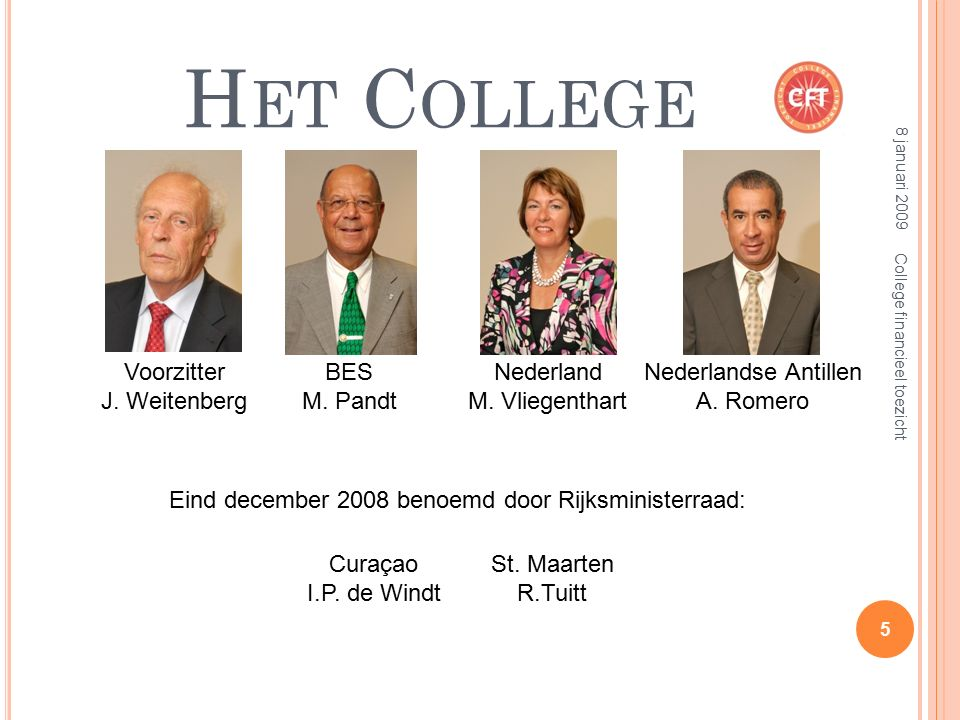 H ET C OLLEGE BES M. Pandt Voorzitter J. Weitenberg Nederland M. Vliegenthart Nederlandse Antillen A. Romero Curaçao I.P. de Windt St. Maarten R.Tuitt