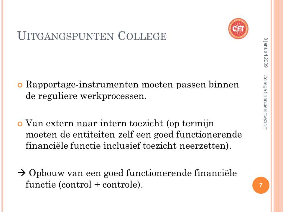 U ITGANGSPUNTEN C OLLEGE Rapportage-instrumenten moeten passen binnen de reguliere werkprocessen.