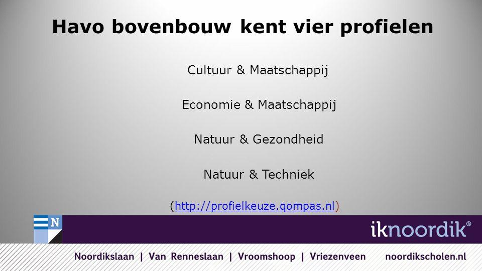 Havo bovenbouw kent vier profielen Cultuur & Maatschappij Economie & Maatschappij Natuur & Gezondheid Natuur & Techniek (http://profielkeuze.qompas.nl)http://profielkeuze.qompas.nl