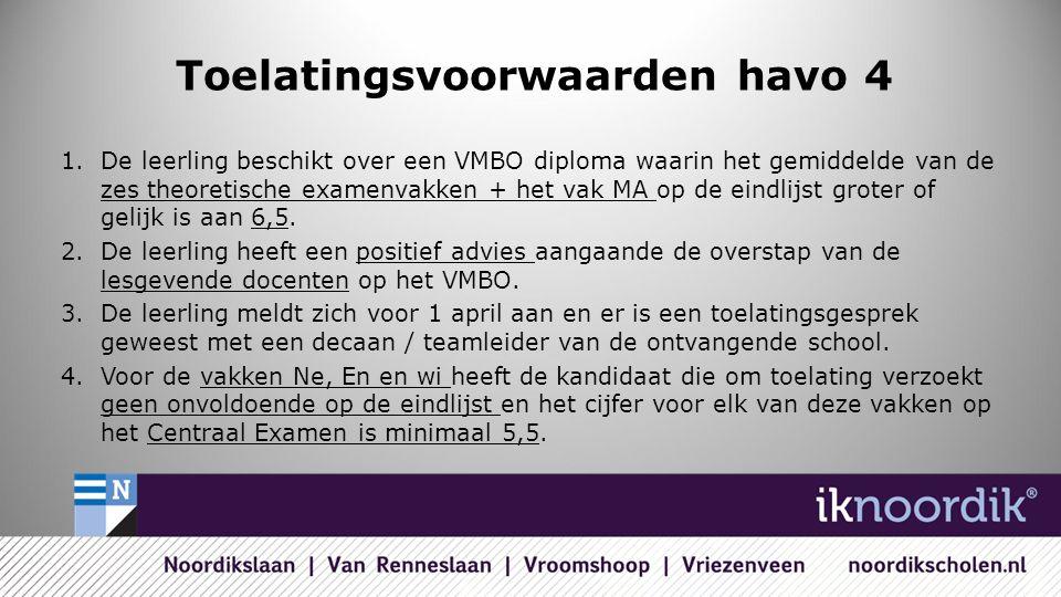 Toelatingsvoorwaarden havo 4 1.De leerling beschikt over een VMBO diploma waarin het gemiddelde van de zes theoretische examenvakken + het vak MA op de eindlijst groter of gelijk is aan 6,5.