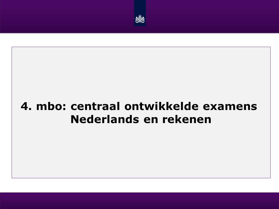 4. mbo: centraal ontwikkelde examens Nederlands en rekenen