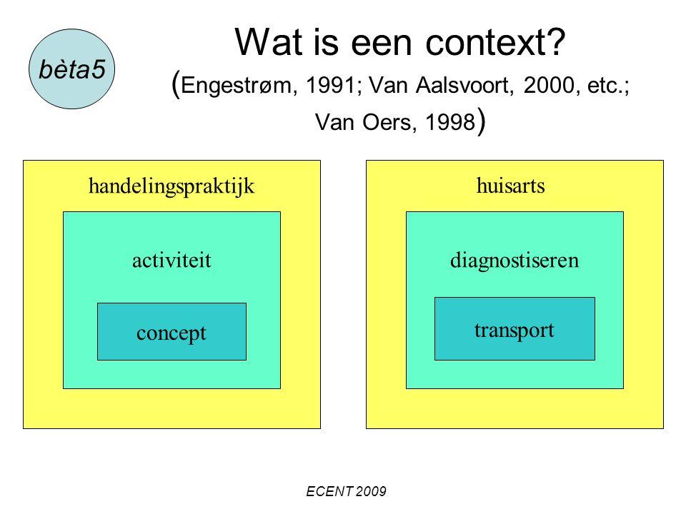 Wat is een context? ( Engestrøm, 1991; Van Aalsvoort, 2000, etc.; Van Oers, 1998 ) bèta5 ECENT 2009 handelingspraktijkhuisarts activiteitdiagnostisere