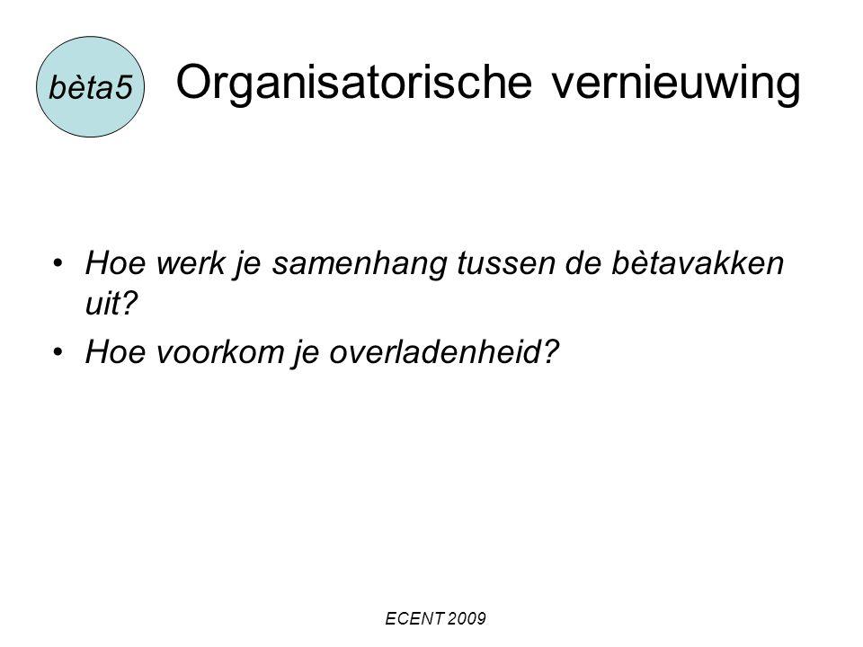 Organisatorische vernieuwing Hoe werk je samenhang tussen de bètavakken uit.