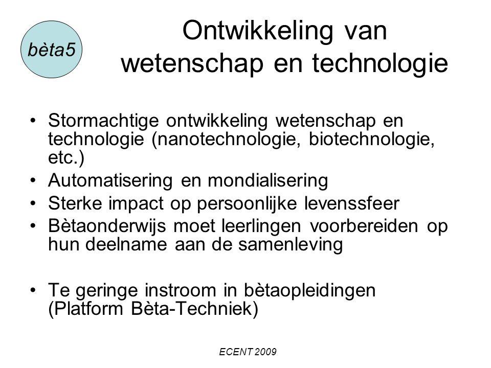 Gevolgen van de invoering van de nieuwe examenprogramma's voor scholen en docenten (en lerarenopleiders) Vakinhoudelijke vernieuwing Didactische vernieuwing Organisatorische vernieuwing bèta5 ECENT 2009