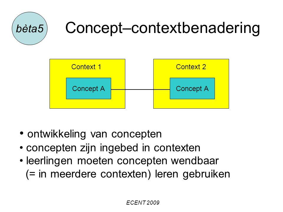 Concept–contextbenadering bèta5 Context 1 Concept A Context 2 Concept A ontwikkeling van concepten concepten zijn ingebed in contexten leerlingen moeten concepten wendbaar (= in meerdere contexten) leren gebruiken ECENT 2009