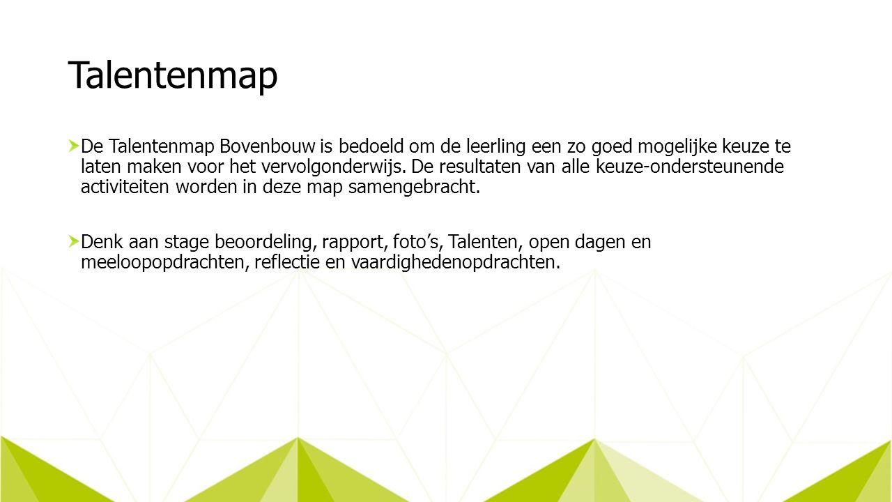 Talentenmap De Talentenmap Bovenbouw is bedoeld om de leerling een zo goed mogelijke keuze te laten maken voor het vervolgonderwijs.