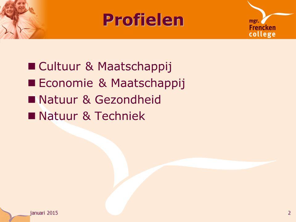 januari 20152 Cultuur & Maatschappij Economie & Maatschappij Natuur & Gezondheid Natuur & Techniek Profielen